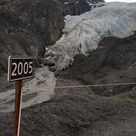 You can see how far the glacier has retreated even since 2005.